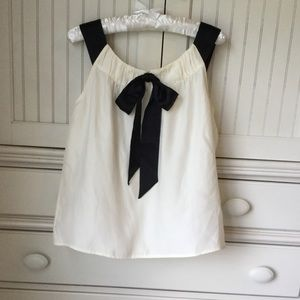 Cream & Black Bow Talbots Dressy Sleeveless Top